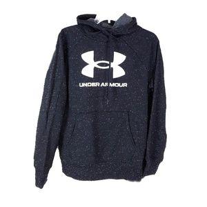 NWT Under Armour Wm  Black & White Dotted Hustle Fleece Hooded Sweatshirt Hoodie